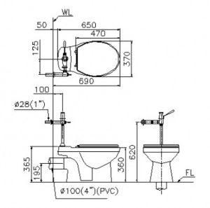 Thông số kỹ thuật: Bàn cầu Caesar CPJ1334 1