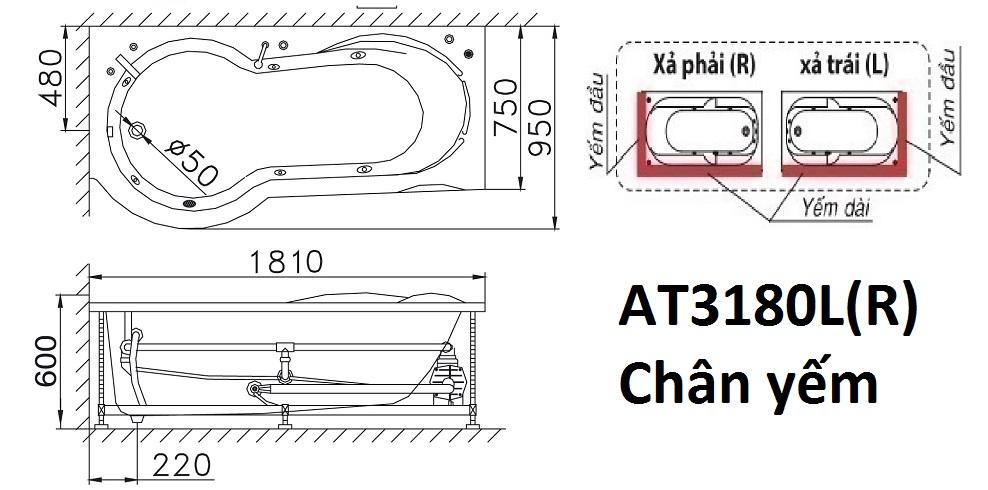 Bản Vẽ Bồn Tắm Chân Yếm 1.8M CAESAR AT3180L/R