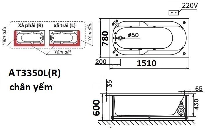 Bản Vẽ Bồn Tắm Chân Yếm 1.5M CAESAR AT3350L/R