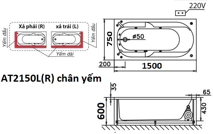 Bản Vẽ Bồn Tắm Chân Yếm Nằm 1.5M CAESAR AT2150L/R