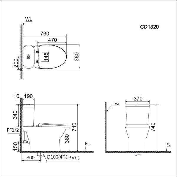 Bản vẽ kỹ thuật Caesar CD1320-TAF200H