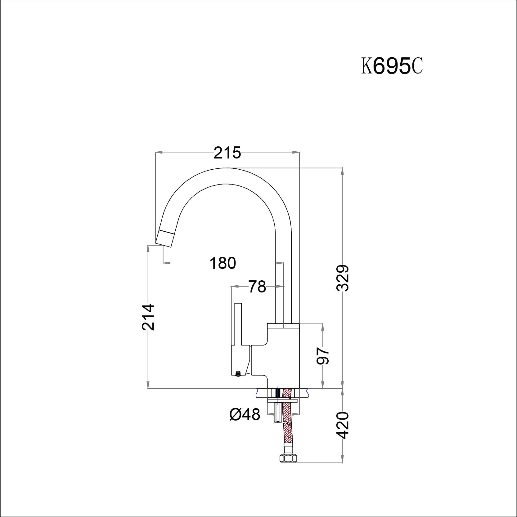 Bản vẽ Vòi Rửa Chén CAESAR K695C Nóng Lạnh Nhà Bếp